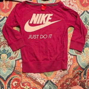 Girls M slouch neck pink 3/4 sleeve Nike shirt